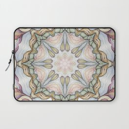purple flowers hand drawn and  kaleidoscope mandala Laptop Sleeve