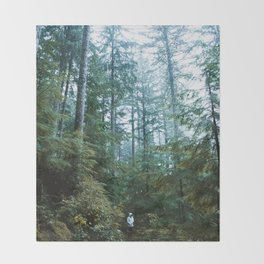 Foggy Washington Forest Throw Blanket