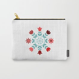 Scandinavian Style Flowers Teals & Reds Wheel Carry-All Pouch