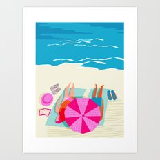 Toasty - memphis throwback minimal retro neon beach surfing suntan waves ocean socal pop art Art Print