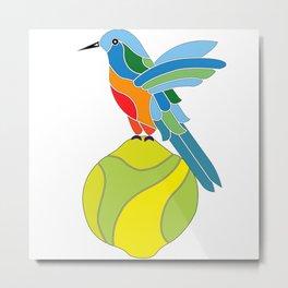 Hummingbird on a lemon Metal Print