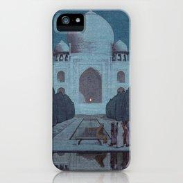 Taj Mahal in Moonlight by Yoshida Hiroshi - Japanese Vintage Ukiyo-e Woodblock Painting iPhone Case