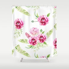 Wild Flowers Pink and Green Shower Curtain