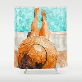By The Pool All Day Shower Curtain