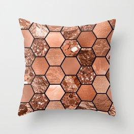 Rose gold hexaglam Throw Pillow
