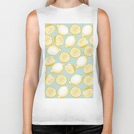 Lemons On Turquoise Background Biker Tank