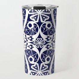 Retro . Lace blue white pattern . White lace on blue background . Travel Mug