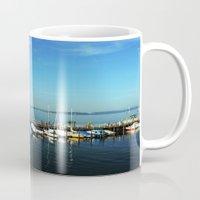 boats Mugs featuring BOATS by Rebecca Jackson