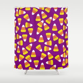Candy Corn Jumble (purple background) Shower Curtain