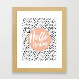 Hello Darling Spots - peach orange, black and white Framed Art Print