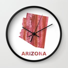 Arizona map outline Indian red stained wash drawing Wall Clock