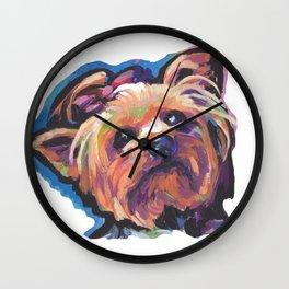 Yorkie Yorkshire Terrier Dog Portrait Pop Art painting by Lea Wall Clock