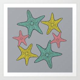 Starfish gray background Art Print