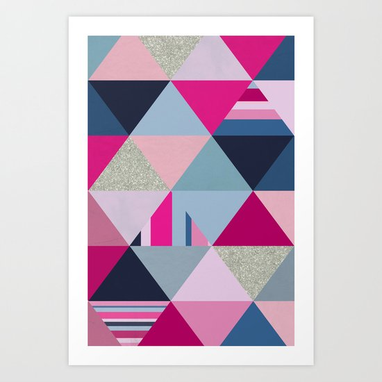 Pink, Blue and Silver Triangles Art Print