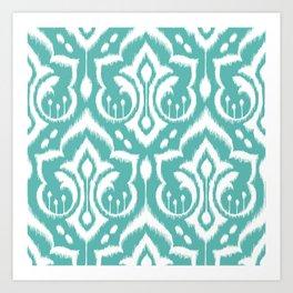 Ikat Damask Aqua Art Print