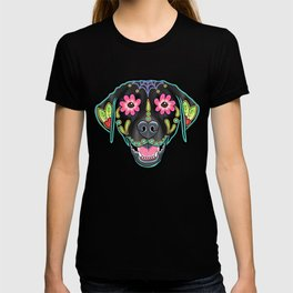 Labrador Retriever - Black Lab - Day of the Dead Sugar Skull Dog T-shirt