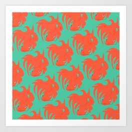 Red Koi Pattern Art Print
