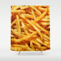 french fries Shower Curtains featuring French Fries by I Love Decor