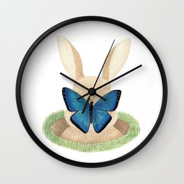 Butterfly resting on a bunny's nose Wall Clock