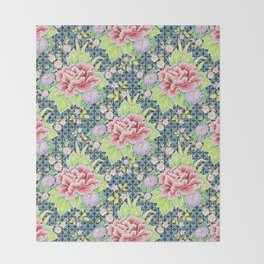 Kimono Bouquet Brocade Throw Blanket