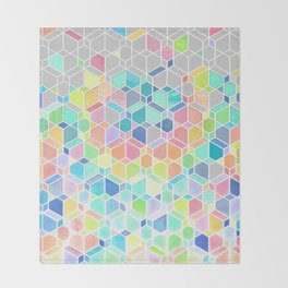 Rainbow Cubes & Diamonds Throw Blanket