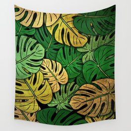 Grunge Monstera Leaves Wall Tapestry
