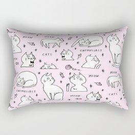 Cats Enthusiasts Pink Print Rectangular Pillow