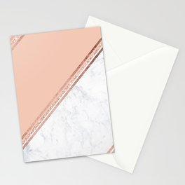 Modern stylish rose gold glitter geometric stripes blush pink white marble color block Stationery Cards