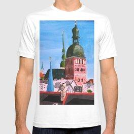 Vertical: Chimneys and Churches of Riga T-shirt