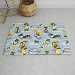 Ready For a Rainy Walk // pastel blue background dachshunds dogs with yellow and transparent rain co Rug