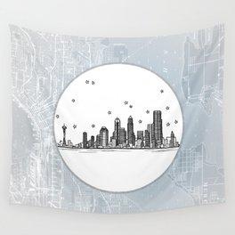 Seattle, Washington City Skyline Illustration Drawing Wall Tapestry