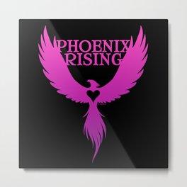 PHOENIX RISING purple on black with heart center Metal Print