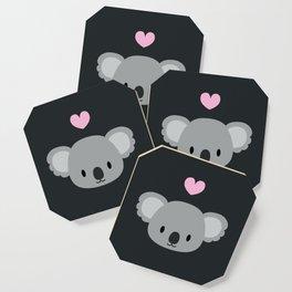 Cute koalas and pink hearts Coaster
