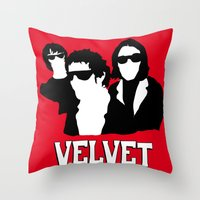 velvet underground Throw Pillows featuring VELVET UNDERGROUND R by zzglam