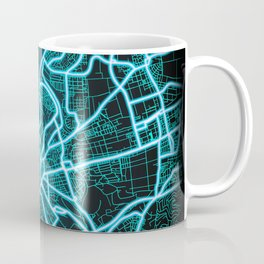 Stuttgart, Germany, Blue, White, Neon, Glow, City, Map Coffee Mug