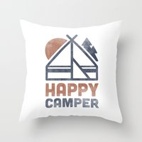 backpack Throw Pillows featuring Happy Camper by Zeke Tucker