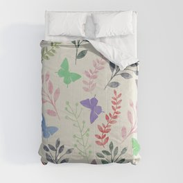 Watercolor flowers & butterflies Comforters
