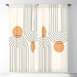 Mid Century Modern Geometric 61 (Rainbow and Sun Abstraction) Blackout Curtain