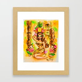 Pineapple Island Girl with Tikis Framed Art Print
