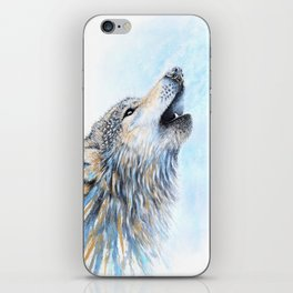 """""""Howling"""" Watercolor Wolf iPhone Skin"""