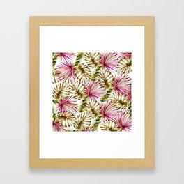 Modern tropical hot pink green watercolor palm tree Framed Art Print