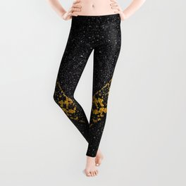 Old Yellow painted line on asphalt road Leggings