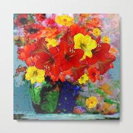 DECORATIVE RED-YELLOW AMARYLLIS  FLORALS ART Metal Print