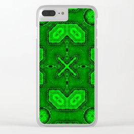 Victorian Art Deco Medieval Pattern bright green SB26/4 Clear iPhone Case