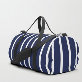 Navy Blue and White Vertical Stripes Pattern Duffle Bag