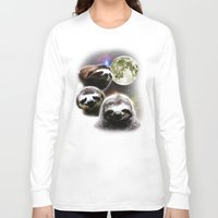 sloths Long Sleeve T-shirts featuring Funny Space Sloths by robotface