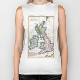 Vintage Map of British Isles (1780) Biker Tank