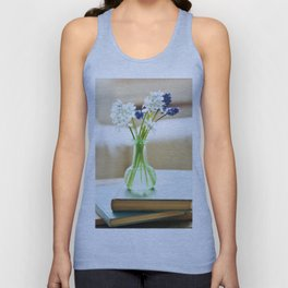 Blue and white flowers in green vase Unisex Tank Top