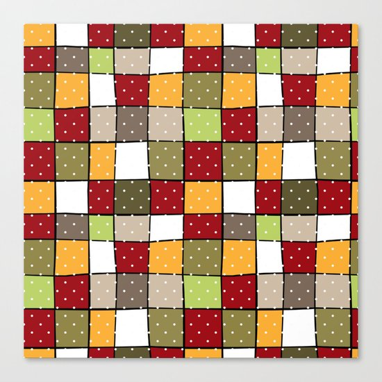 Retro . Squares with polka dots . Canvas Print