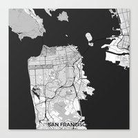 san francisco map Canvas Prints featuring San Francisco Map Gray by City Art Posters